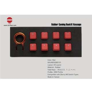 〔キーキャップ〕 英語配列 Rubber Gaming Backlit Keycaps-8 keys レッド th-rubber-keycaps-red-8