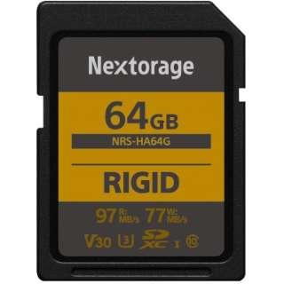 堅牢設計・防塵防水(IP68) RIGID仕様 SDXCカード 64GB 【UHS-I Class10 U3 V30】 NRS-HA64G/N [64GB /Class10]