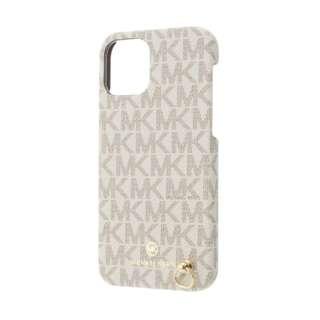MICHAEL KORS - Slim Wrap Case Signature with Neck Strap - Magsafe for iPhone 12 mini [ Vanilla ] MKSNVNLWPIP2054 バニラ