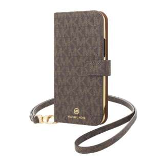 MICHAEL KORS - Folio Case Signature with Neck Strap - Magsafe for iPhone 12/12 Pro [ Brown ] MKSNBRWFLIP2061 ブラウン