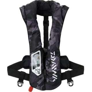 ウォッシャブルライフジャケット【肩掛けタイプ自動・手動膨脹式】(フリーサイズ:ブラックカモ)DF-2021