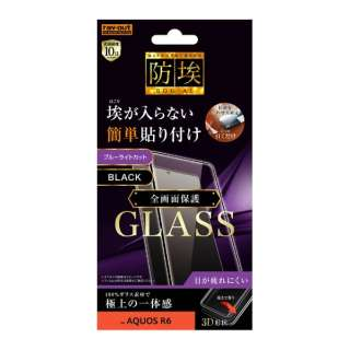 AQUOS R6 ガラス防埃 3D 10H 全面保護 BLカット RT-AQR6RFG/BMB
