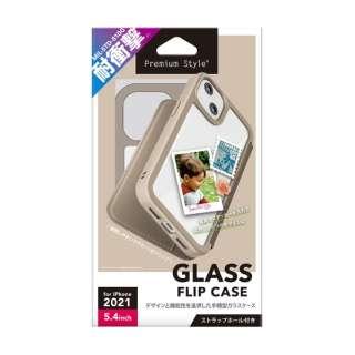 iPhone 13 mini対応 5.4inch ガラスフリップケース Premium Style ベージュ PG-21JGF02BE