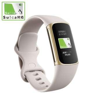 【Suica対応】Fitbit Charge5 GPS搭載フィットネストラッカー L/Sサイズ ルナホワイト FB421GLWT-FRCJK