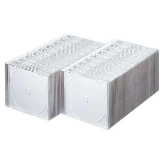 CD・DVD・ブルーレイ用 [100枚収納] プラケース スリムタイプ 1枚収納x100 ホワイト FCD-PU100MWN