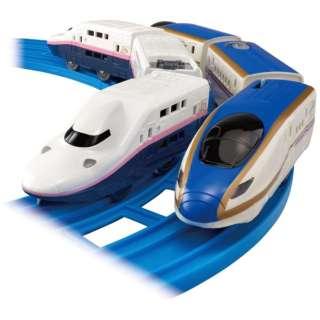 プラレール さよならE4系新幹線Max(ラストラン仕様)&E7系上越新幹線(朱鷺色仕様) 【発売日以降のお届け】