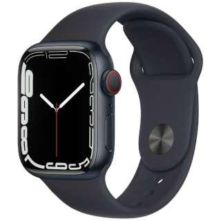 Apple Watch Series 7(GPS+Cellularモデル)- 41mmミッドナイトアルミニウムケースとミッドナイトスポーツバンド - レギュラー MKHQ3J/A