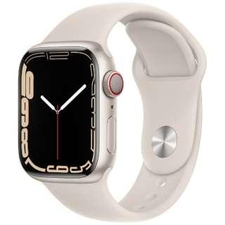 Apple Watch Series 7(GPS+Cellularモデル)- 41mmスターライトアルミニウムケースとスターライトスポーツバンド - レギュラー MKHR3J/A