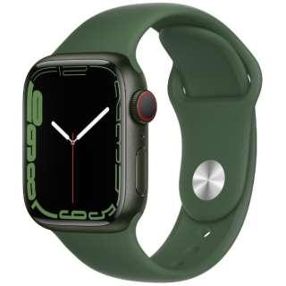 Apple Watch Series 7(GPS+Cellularモデル)- 41mmグリーンアルミニウムケースとクローバースポーツバンド - レギュラー MKHT3J/A