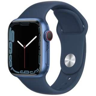 Apple Watch Series 7(GPS+Cellularモデル)- 41mmブルーアルミニウムケースとアビスブルースポーツバンド - レギュラー MKHU3J/A