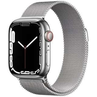 Apple Watch Series 7(GPS+Cellularモデル)- 41mmシルバーステンレススチールケースとシルバーミラネーゼループ MKHX3J/A