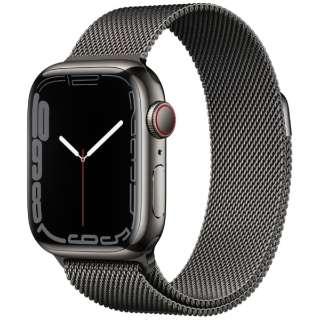 Apple Watch Series 7(GPS+Cellularモデル)- 41mmグラファイトステンレススチールケースとグラファイトミラネーゼループ MKJ23J/A