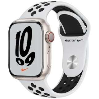 Apple Watch Nike Series 7(GPS+Cellularモデル)- 41mmスターライトアルミニウムケースとピュアプラチナム/ブラックNikeスポーツバンド - レギュラー MKJ33J/A