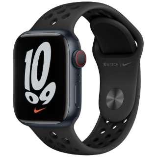 Apple Watch Nike Series 7(GPS+Cellularモデル)- 41mmミッドナイトアルミニウムケースとアンスラサイト/ブラックNikeスポーツバンド - レギュラー MKJ43J/A