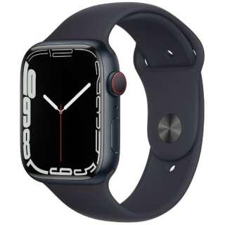 Apple Watch Series 7(GPS+Cellularモデル)- 45mmミッドナイトアルミニウムケースとミッドナイトスポーツバンド - レギュラー MKJP3J/A