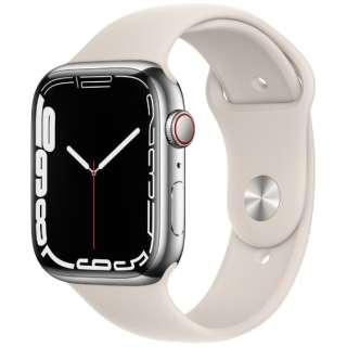 Apple Watch Series 7(GPS+Cellularモデル)- 45mmシルバーステンレススチールケースとスターライトスポーツバンド - レギュラー MKJV3J/A