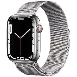 Apple Watch Series 7(GPS+Cellularモデル)- 45mmシルバーステンレススチールケースとシルバーミラネーゼループ MKJW3J/A