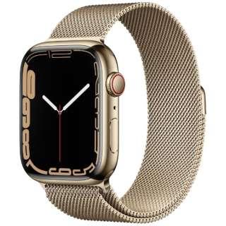 Apple Watch Series 7(GPS+Cellularモデル)- 45mmゴールドステンレススチールケースとゴールドミラネーゼループ MKJY3J/A