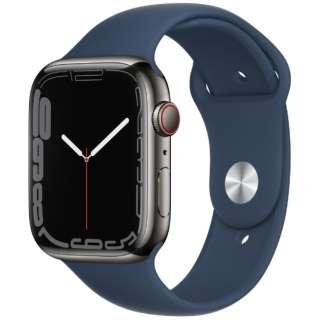 Apple Watch Series 7(GPS+Cellularモデル)- 45mmグラファイトステンレススチールケースとアビスブルースポーツバンド - レギュラー MKL23J/A