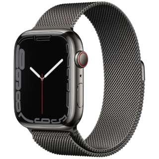 Apple Watch Series 7(GPS+Cellularモデル)- 45mmグラファイトステンレススチールケースとグラファイトミラネーゼループ MKL33J/A