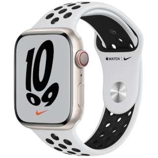 Apple Watch Nike Series 7(GPS+Cellularモデル)- 45mmスターライトアルミニウムケースとピュアプラチナム/ブラックNikeスポーツバンド - レギュラー MKL43J/A