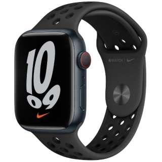Apple Watch Nike Series 7(GPS+Cellularモデル)- 45mmミッドナイトアルミニウムケースとアンスラサイト/ブラックNikeスポーツバンド - レギュラー MKL53J/A