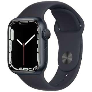 Apple Watch Series 7(GPSモデル)- 41mmミッドナイトアルミニウムケースとミッドナイトスポーツバンド - レギュラー MKMX3J/A