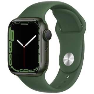 Apple Watch Series 7(GPSモデル)- 41mmグリーンアルミニウムケースとクローバースポーツバンド - レギュラー MKN03J/A