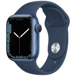 Apple Watch Series 7(GPSモデル)- 41mmブルーアルミニウムケースとアビスブルースポーツバンド - レギュラー MKN13J/A