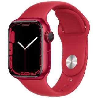 Apple Watch Series 7(GPSモデル)- 41mm(PRODUCT)REDアルミニウムケースと(PRODUCT)REDスポーツバンド - レギュラー MKN23J/A