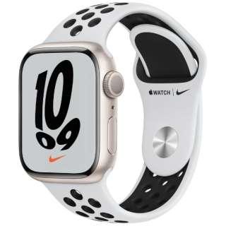 Apple Watch Nike Series 7(GPSモデル)- 41mmスターライトアルミニウムケースとピュアプラチナム/ブラックNikeスポーツバンド - レギュラー MKN33J/A