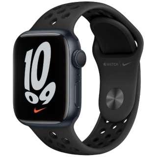 Apple Watch Nike Series 7(GPSモデル)- 41mmミッドナイトアルミニウムケースとアンスラサイト/ブラックNikeスポーツバンド - レギュラー MKN43J/A