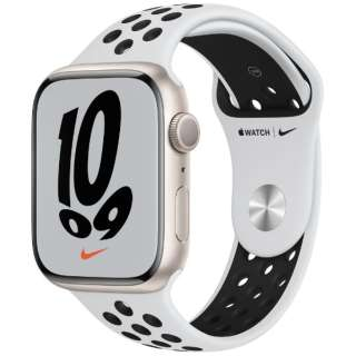 Apple Watch Nike Series 7(GPSモデル)- 45mmスターライトアルミニウムケースとピュアプラチナム/ブラックNikeスポーツバンド - レギュラー MKNA3J/A