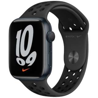 Apple Watch Nike Series 7(GPSモデル)- 45mmミッドナイトアルミニウムケースとアンスラサイト/ブラックNikeスポーツバンド - レギュラー MKNC3J/A